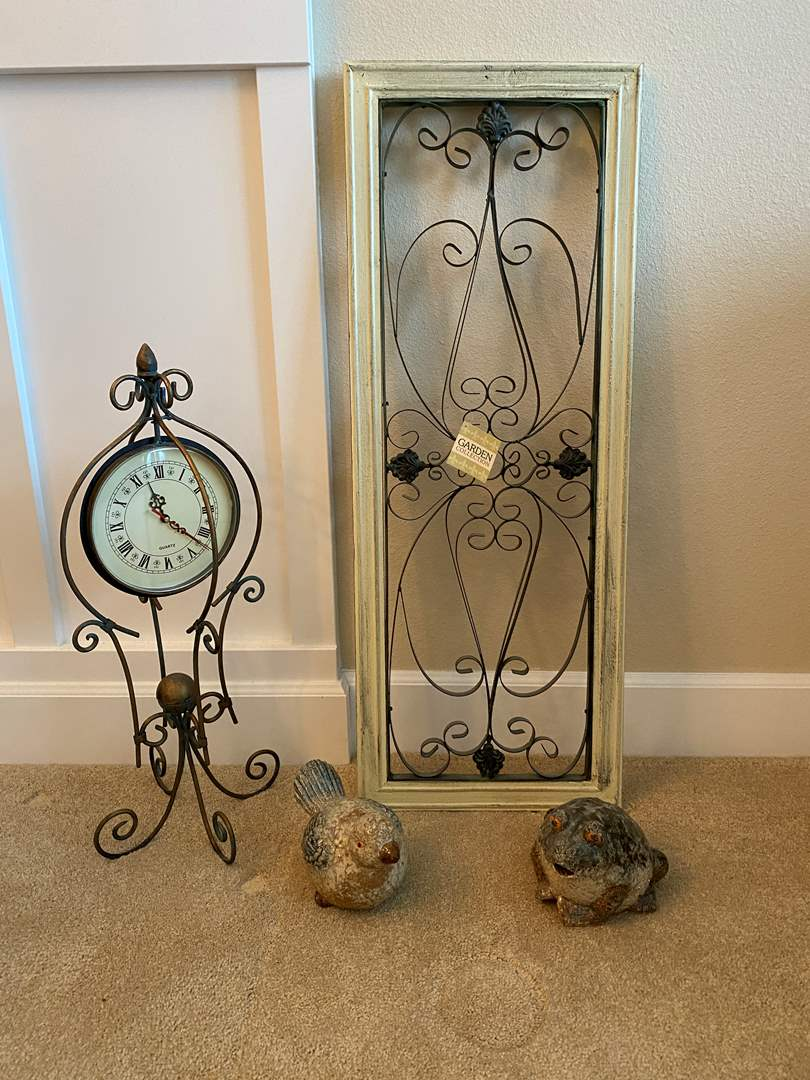 Lot # 12 - New Decorative Wall Hanging, Clay Frog & Bird, Decorative Clock (main image)