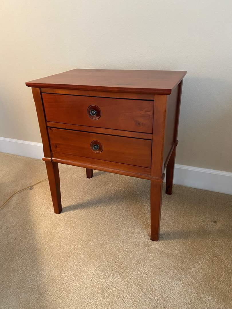 Lot # 16 - Solid Wood Two Drawer Side Table  (main image)