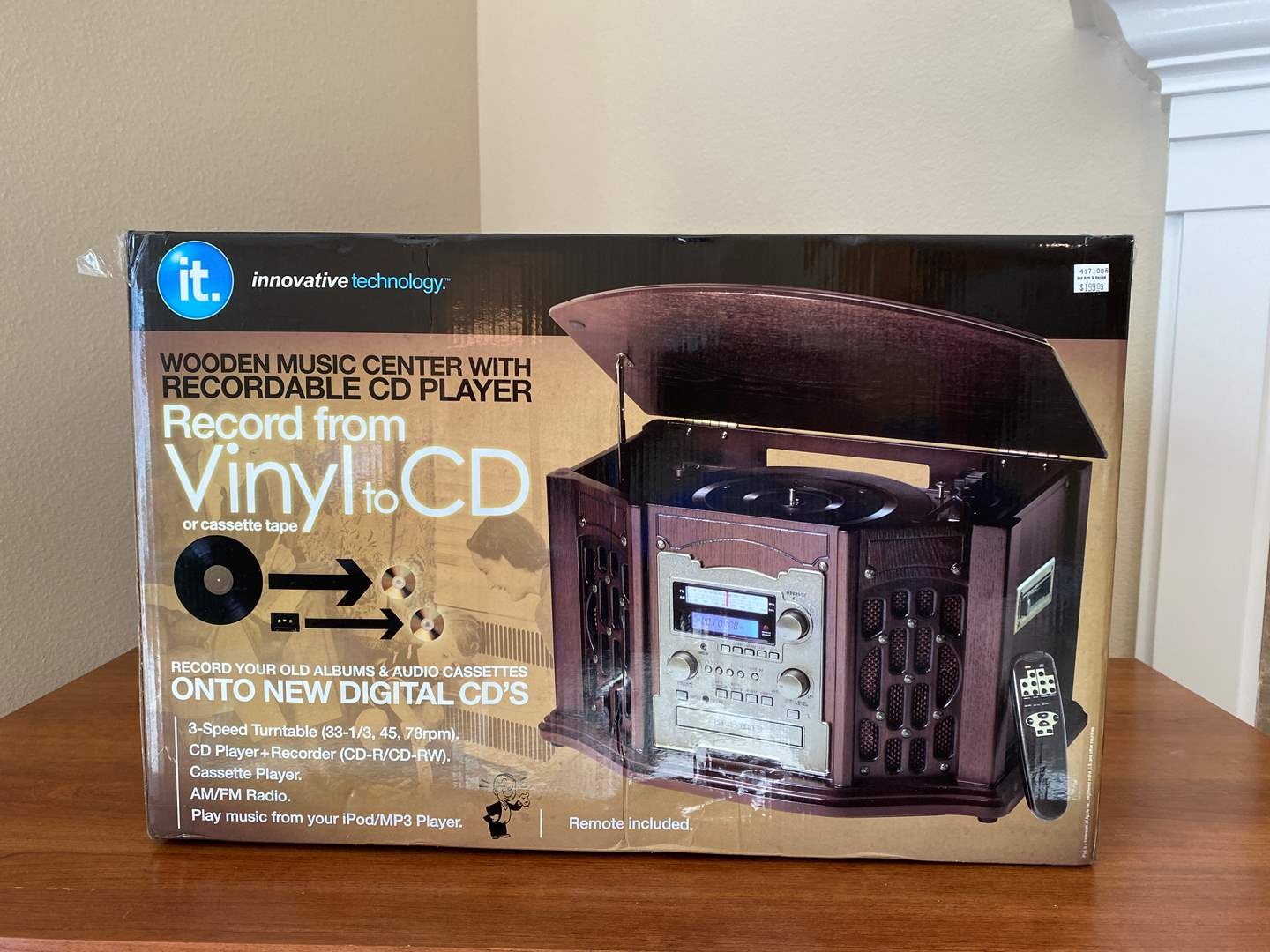 Lot # 25 - New in Box Innovative Technology Wooden Music Center w/Recordable CD Player, Turntable & Cassette Deck (main image)