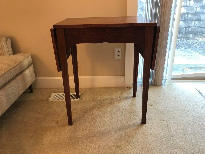 Lot # 81 - Small Wood Drop Leaf Table  (main image)
