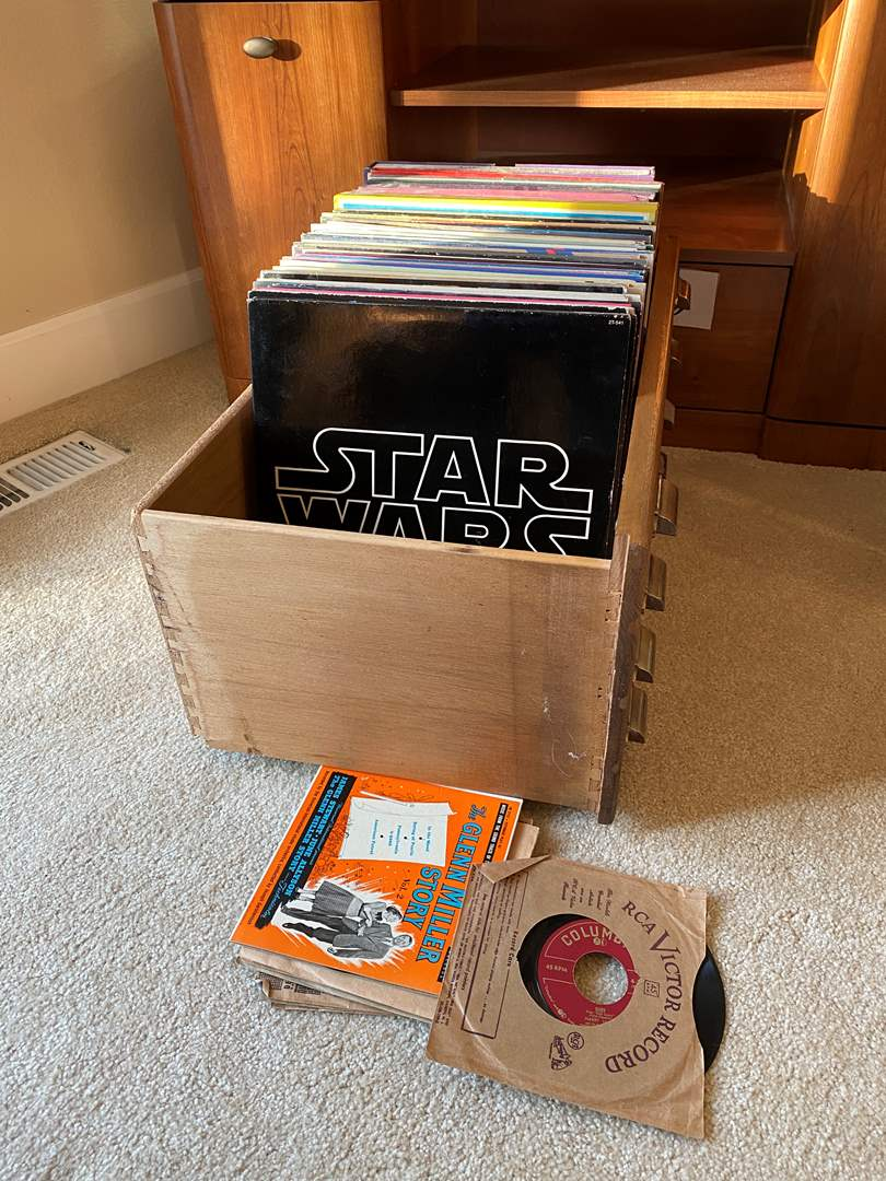 Lot # 28 - Nice Collection of Albums & 45's: Star Wars, Rocky, Westside Story & Nice Bassett Storage Drawer on Wheels (main image)