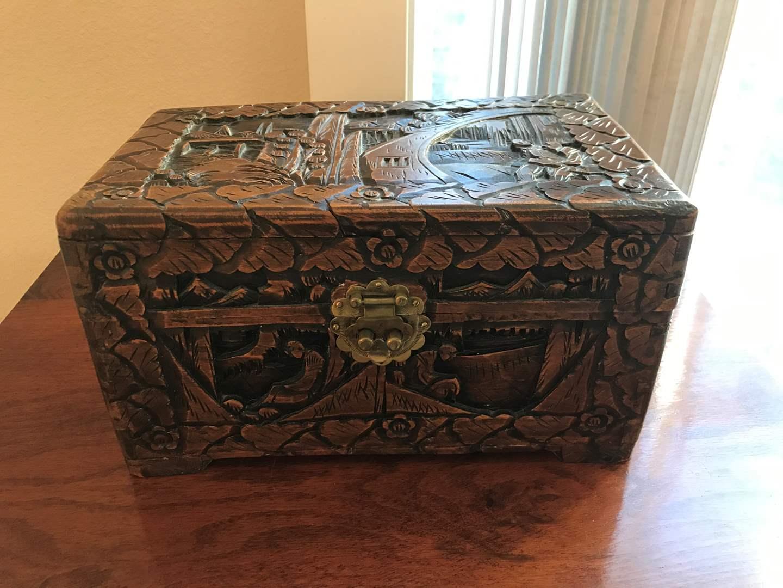 Lot # 82 - Small Asian Wood Carved Box (main image)