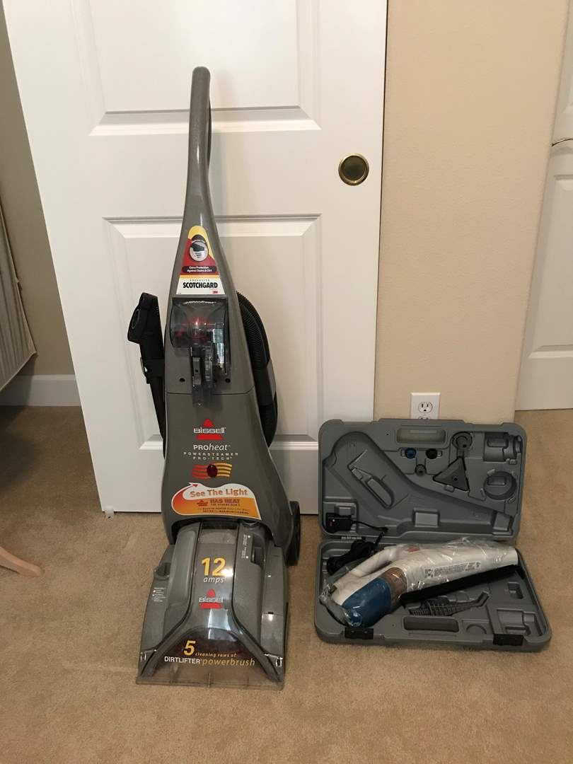 Lot # 86 - Bissell Pro Heat Power Steamer & New in Box Bissell Steam Cleaner w/Hard Case & Attachments (main image)
