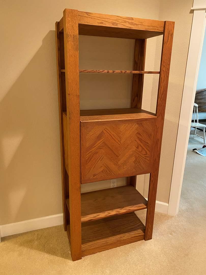 Lot # 37 - Oak Shelving Unit w/Built in Desk (main image)