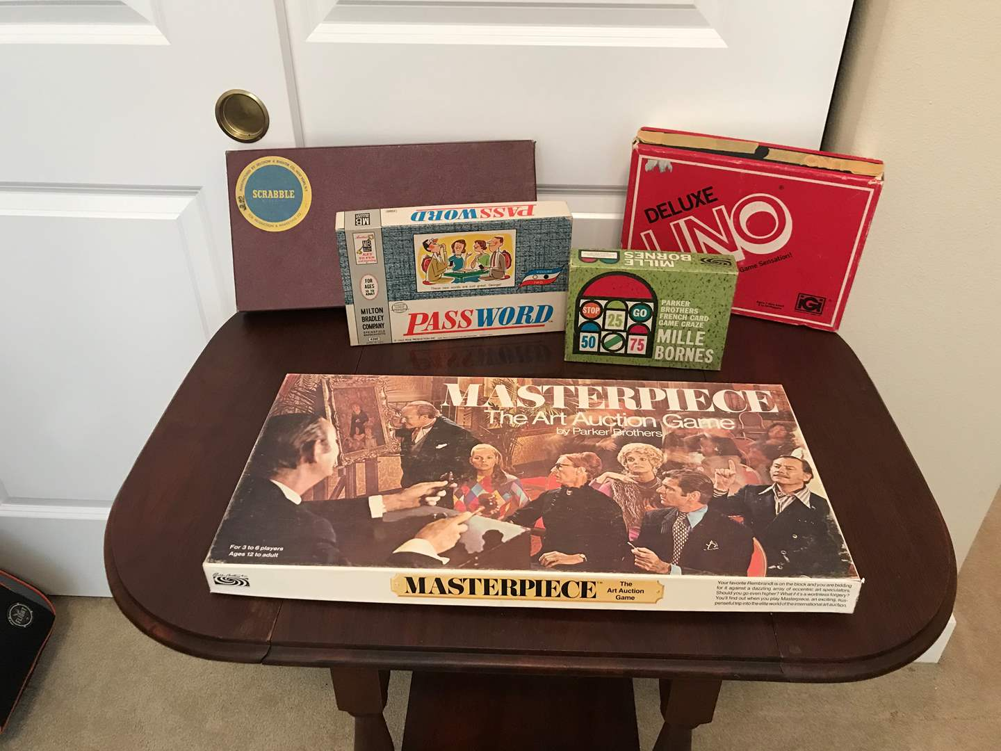 Lot # 89 - Small Selection of Vintage Games: Masterpiece, Scrabble, Uno, Password & Mille Bornes (main image)