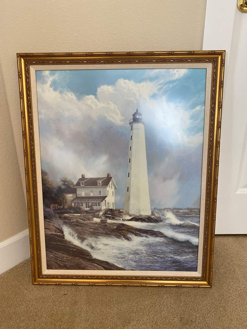 Lot # 39 - Beautifully Framed Lighthouse Print by N.Mirkovich w/Non-Glare Glass (main image)