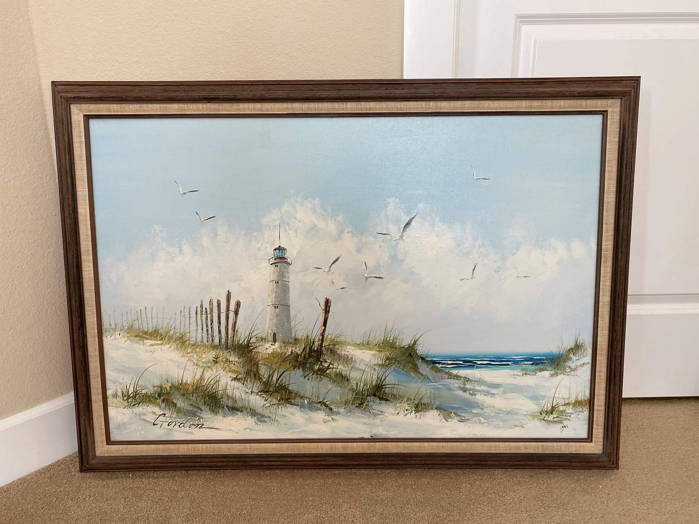 Lot # 40 - Large Original Oil on Canvas Seaside Painting by Gordon (main image)