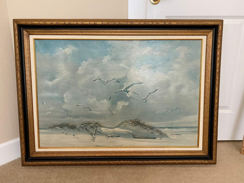 Lot # 41 - Large Framed Seagull Canvas Artwork by Carolyn Blish '68 (main image)