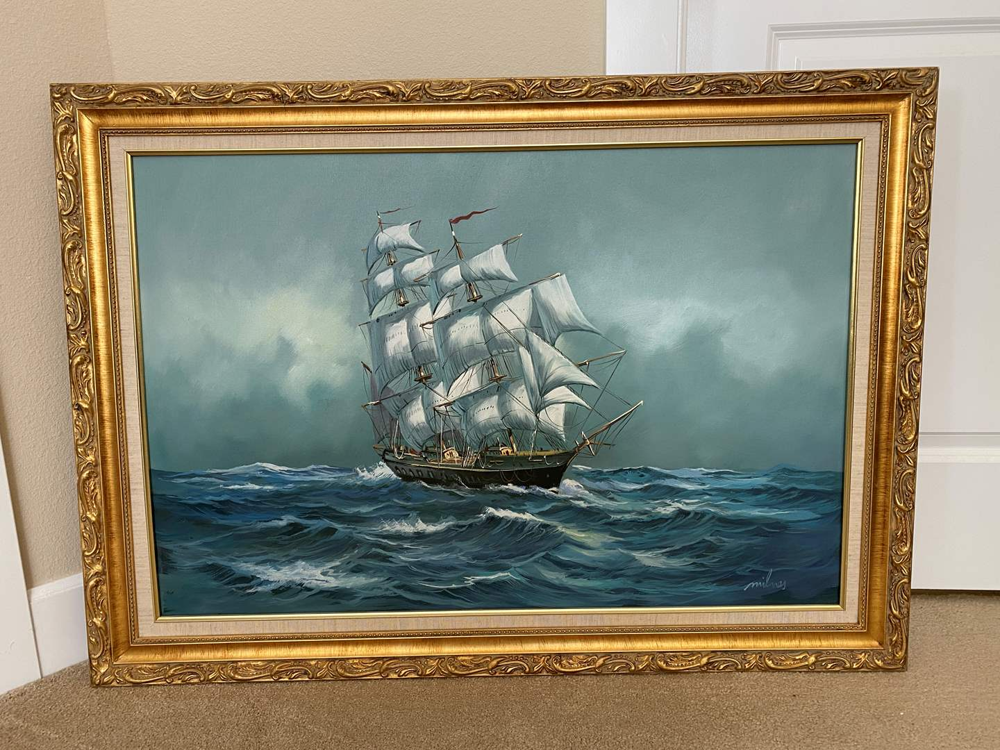 Lot # 42 - Large Signed Original on Oil Canvas Nautical Ship by Milnes (main image)