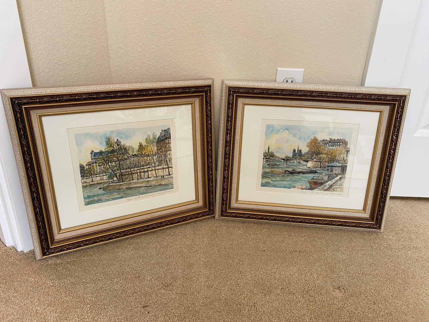Lot # 46 - Two Original Signed Paris Watercolors by Pierre Eugene Cambier  (main image)