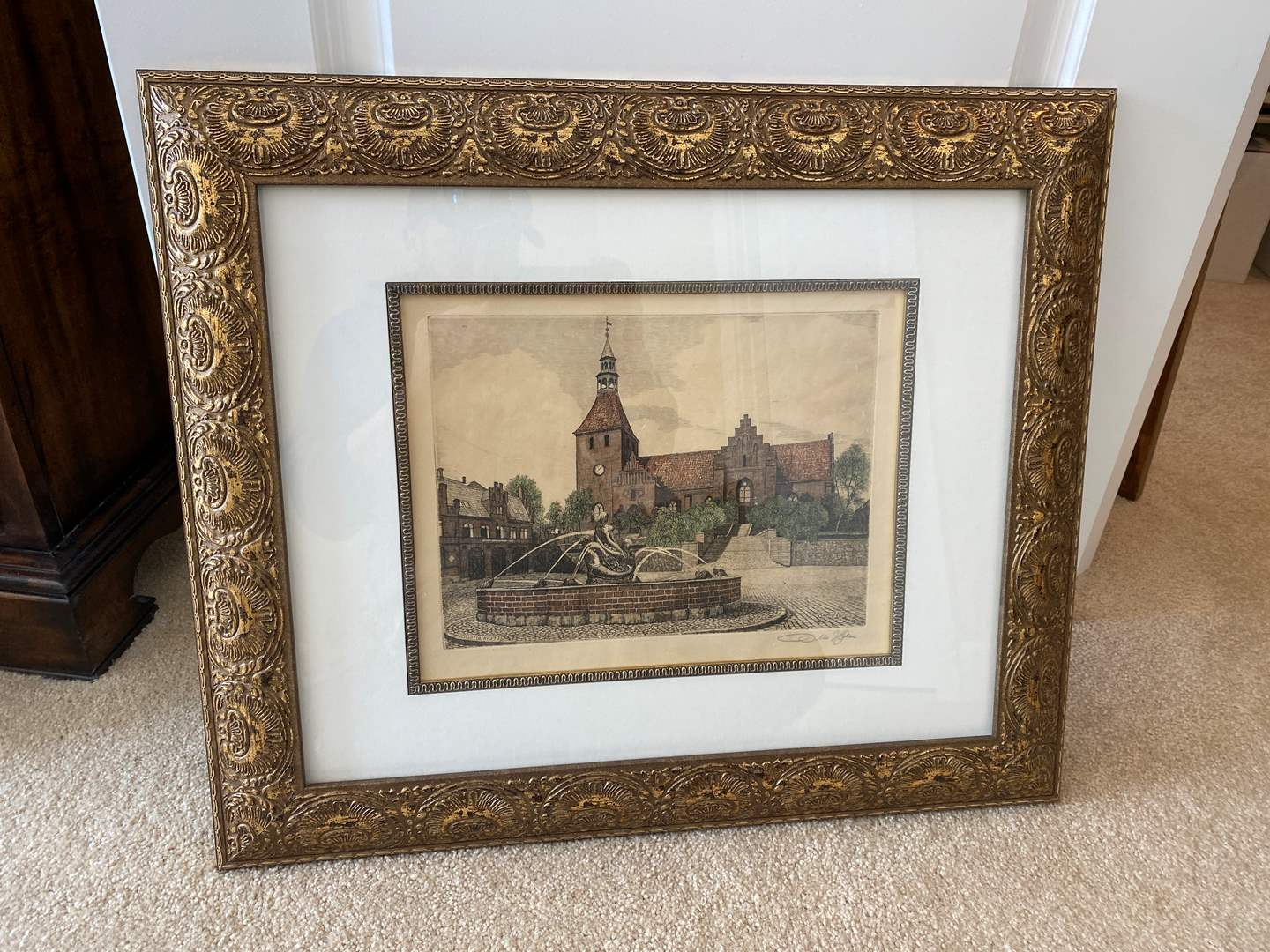 Lot # 47 - Nicely Framed Signed Etching Print by Otto Holm 1931 (main image)