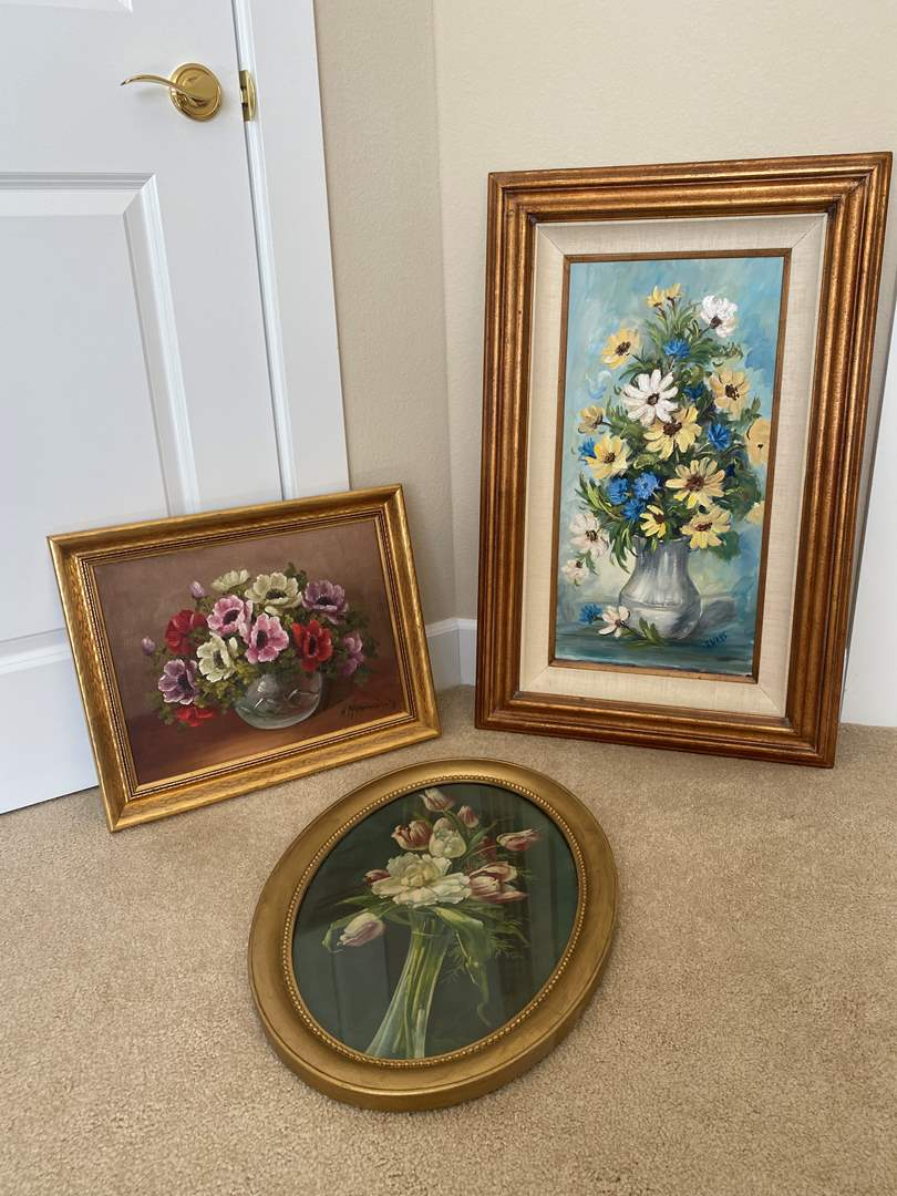 Lot # 49 - Two Signed Oil Painting on Canvas Board, One Vintage Floral Print (main image)