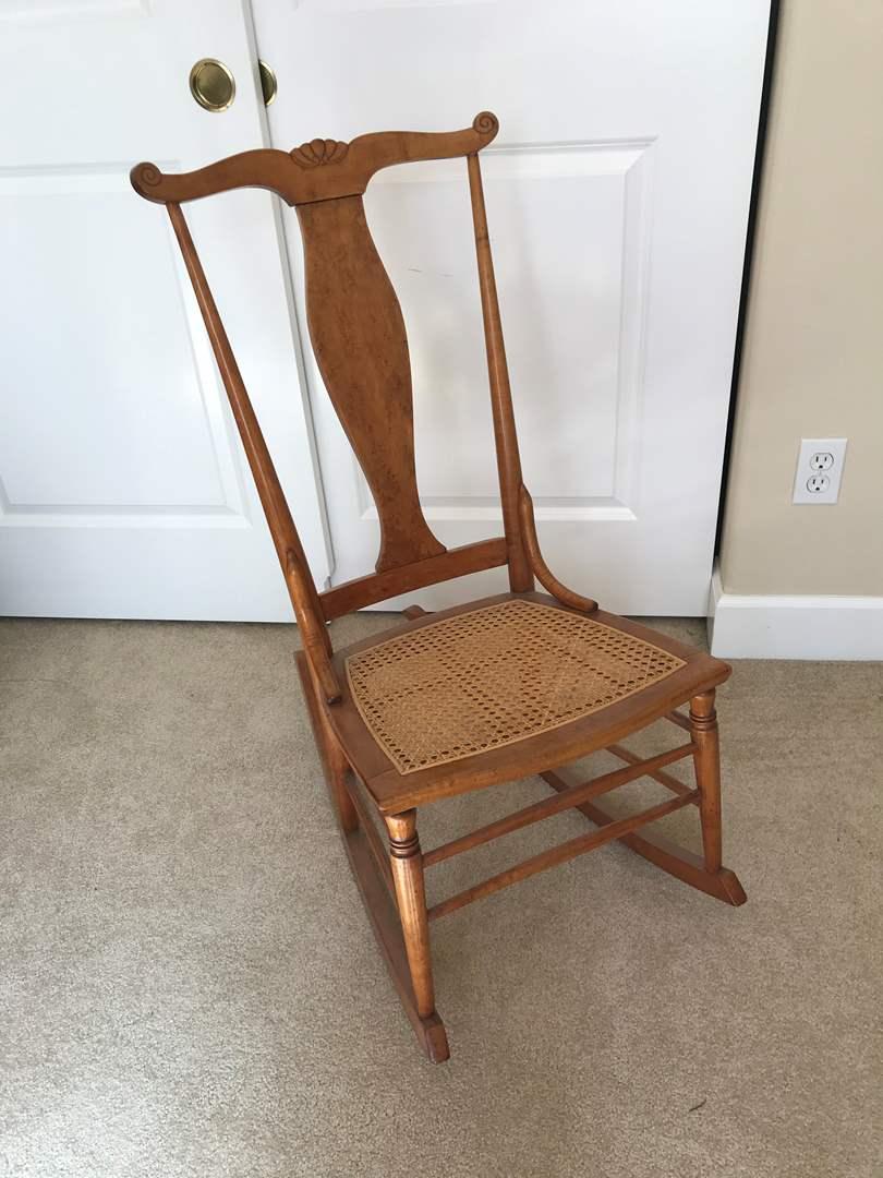 Lot # 101 - Cute Vintage Cane-Bottom Rocking Chair  (main image)
