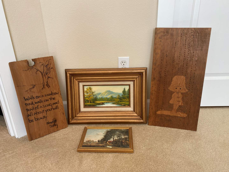 Lot # 108 - Small Framed Original Artwork, Small Art Print, Navajo Song, Wood Art. (main image)