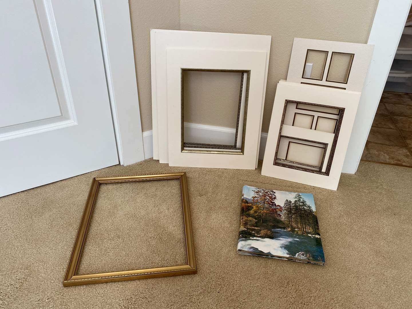 Lot # 113 - New Pictures Frame Mats, Photo Album & Wood Frame (main image)