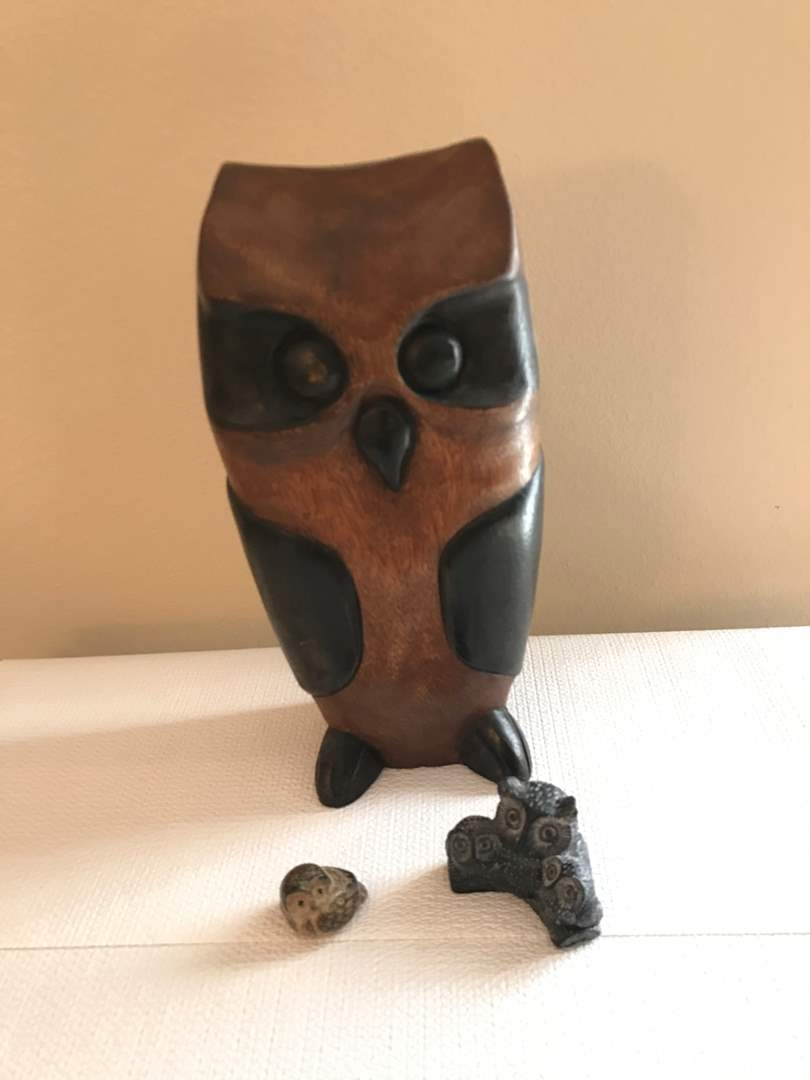 Lot # 128 - Large Wood Owl & Small Owl Statues  (main image)