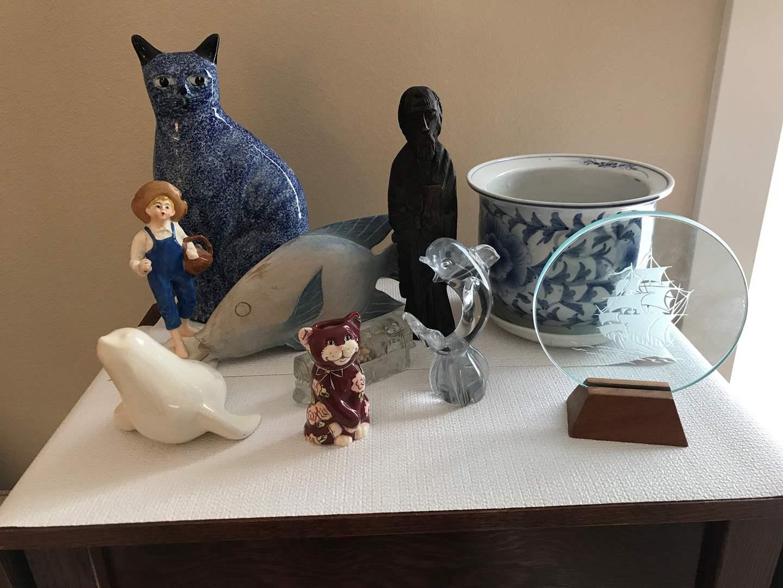 Lot # 129 - Signed Glass Dolphin, Enesco Cat, Knick Knacks & More.. (main image)