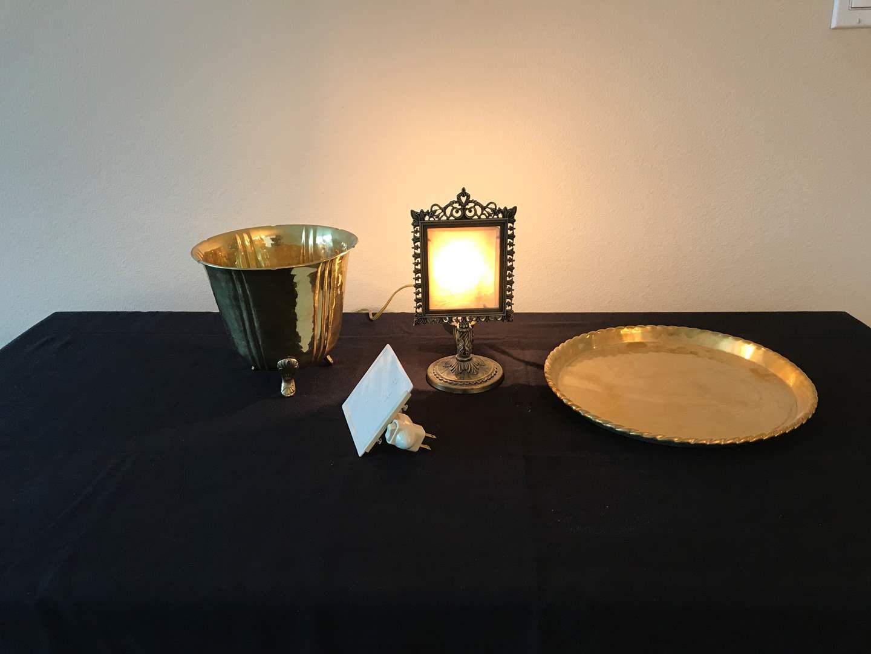 Lot # 134 - Brass Platter & Pot, Small Vintage Angel Lamp, Night Light (main image)