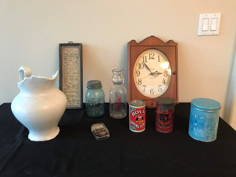 Lot # 135 - Vintage Items: Pitchers, Milk Bottle, Tins, Clock & More.. (main image)