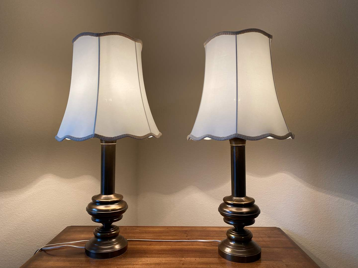 """Lot # 157 - Two Vintage Brass Table Lamps - 30"""" Tall  (main image)"""