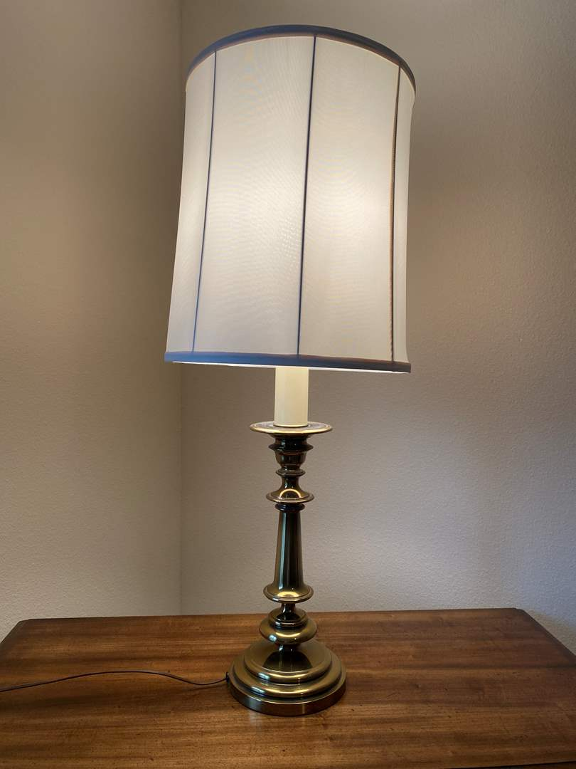 """Lot # 147 - Vintage Heavy Brass Table Lamp - 34"""" Tall  (main image)"""