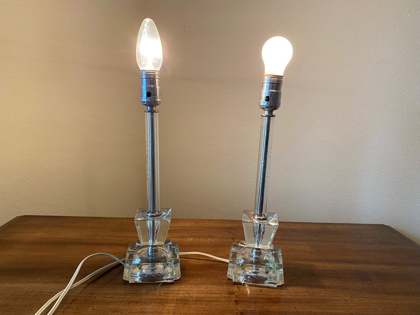 "Lot # 149 - Two Vintage Etched Glass Lamps - 14"" Tall  (main image)"