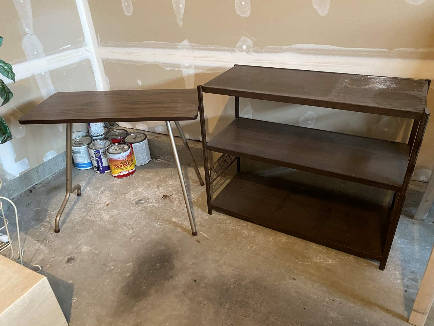 Lot # 182 - Folding Table & Metal Shelving Unit  (main image)
