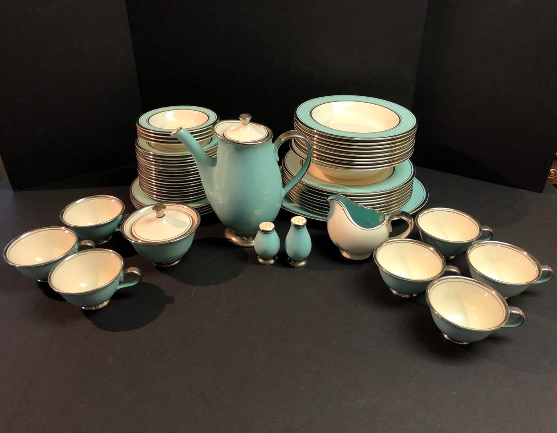 Lot # 51 - Mid-Century 56 Piece Set of (Tiffany Blue & Silver Rimmed) Dinnerware (main image)