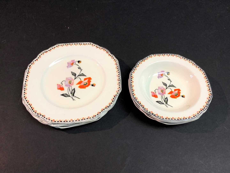 "Lot # 53 - 7 Piece Set of W.H. Grindlfy & Co. England Pattern ""Windsor Ivory""  (main image)"