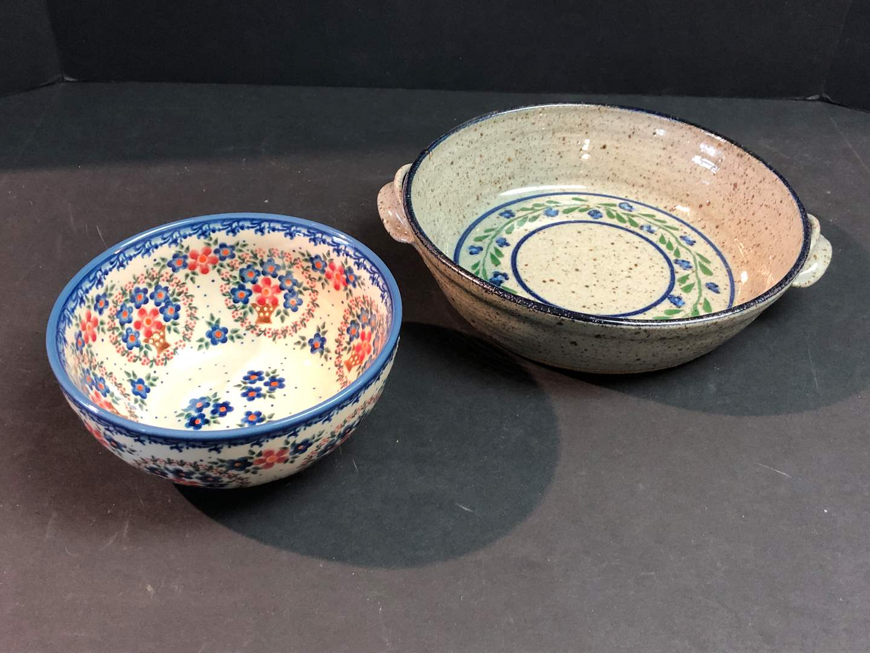 Lot # 54 - One Polish Pottery Bowl & One Misc. Stoneware Baking Dish (main image)