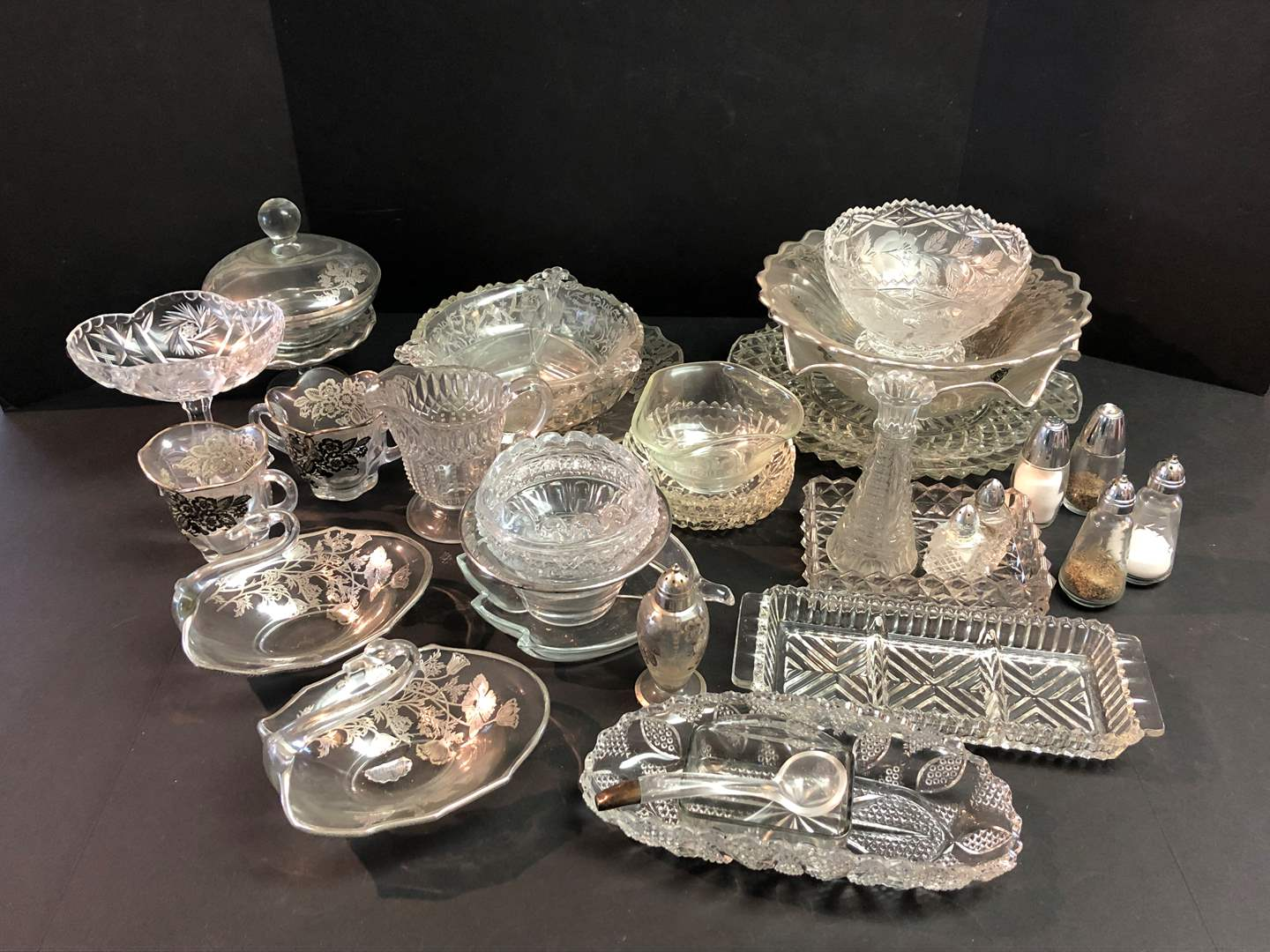 Lot # 56 - Crystal Items: Serving Dishes, Salt & Pepper, Candy Dishes & More.. (main image)