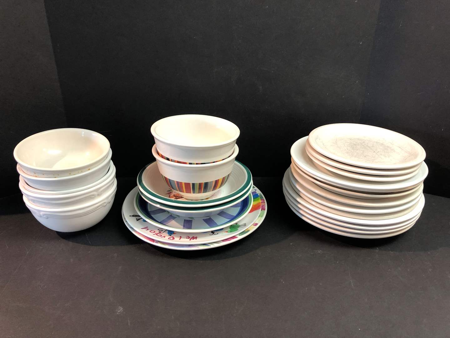 Lot # 57 - Selection of Well Used Plates & Bowls of Various Brands (main image)