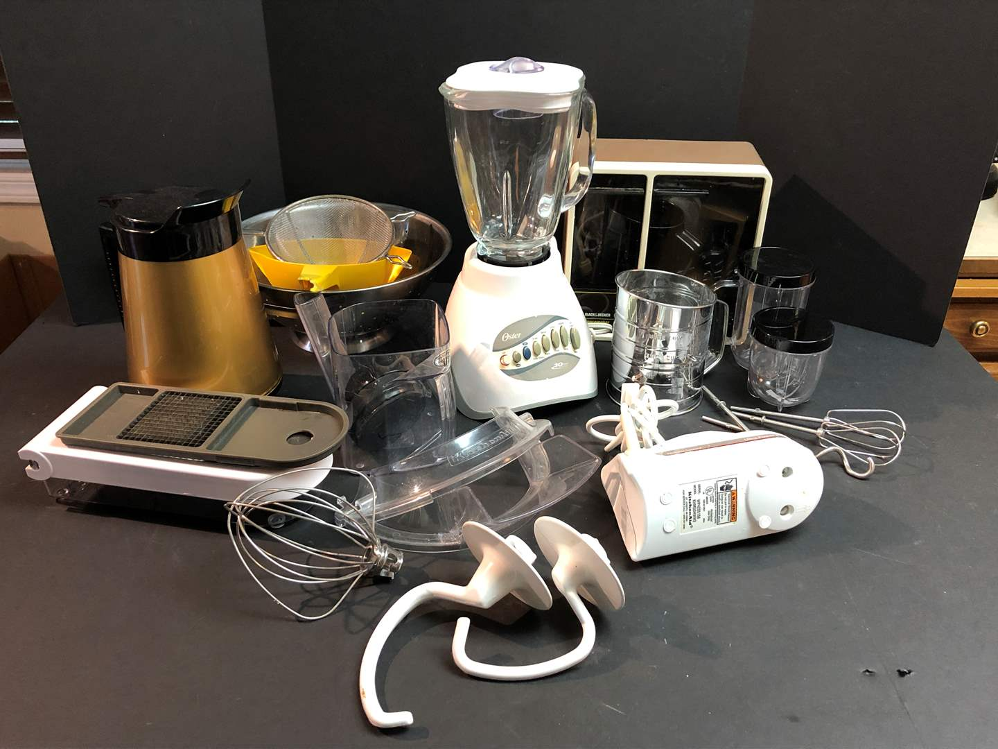 Lot # 67 - Oster Blender, Kitchen Aid Hand Beaters, Kitchen Aid Mixer Implements & More.. (main image)