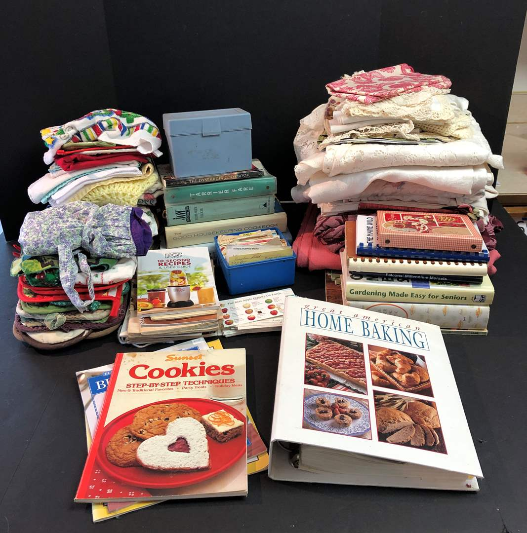 Lot # 145 - Selection of Cook Books, Hand Towels & Table Cloths (main image)