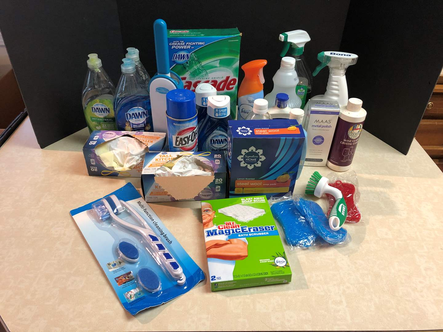 Lot # 149 - Misc. Cleaning Supplies: Dawn Soaps, Magic Erasers, Metal Polish & More..  (main image)
