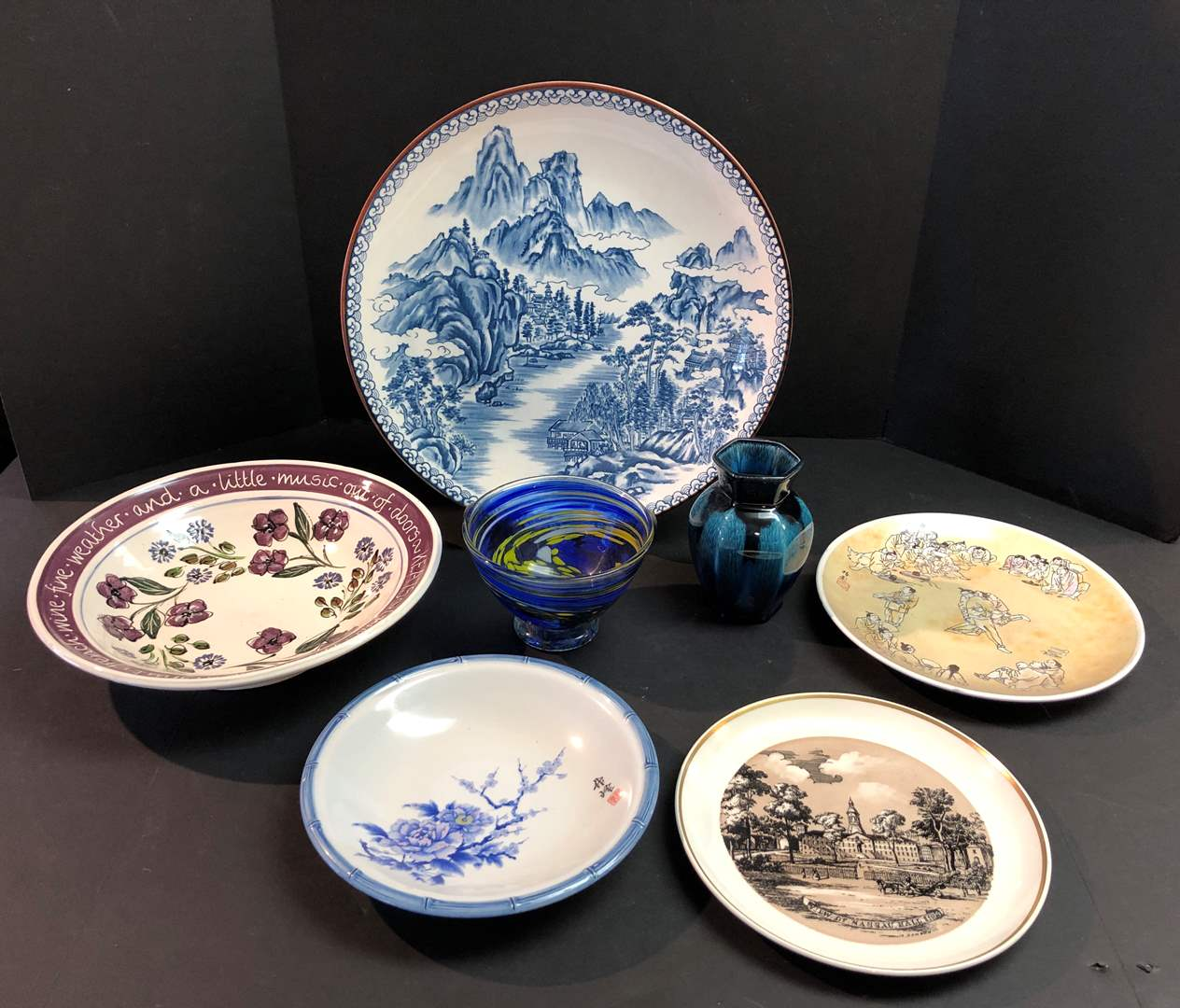 Lot # 162 - Asian Style Serving Dishes, Glass Bowl & Ceramic Vase (main image)