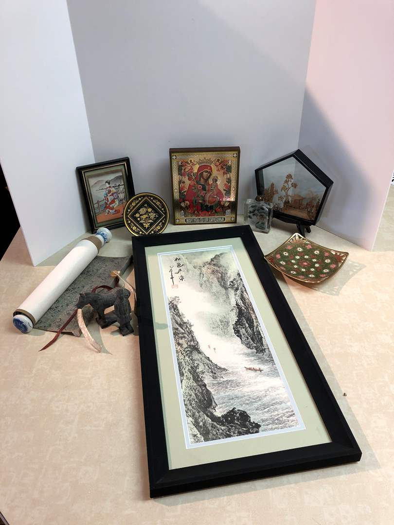 Lot # 164 - Asian Decor, Shadow Box w/Wood Carvings, Glass w/Etched Tiger, Decorative Plates & More..  (main image)