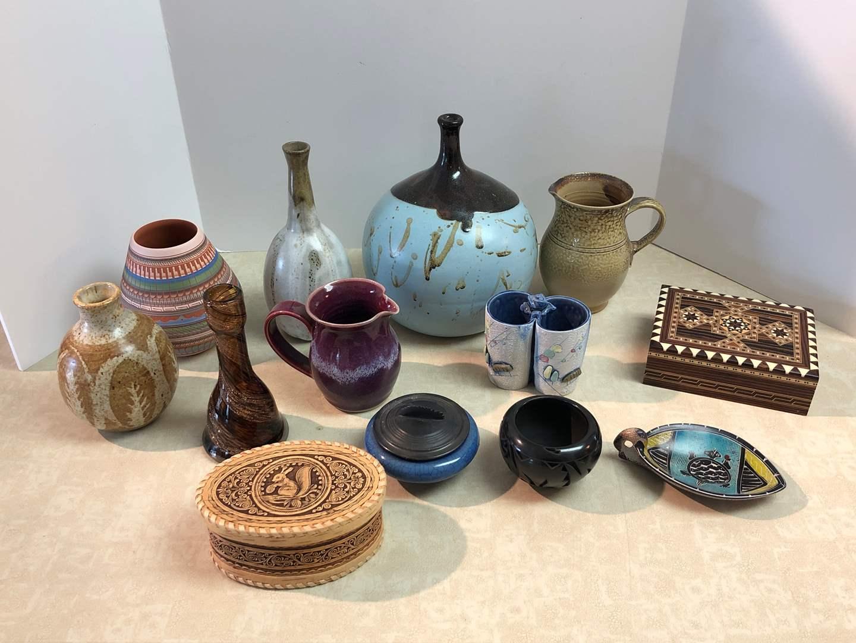 Lot # 165 - Beautiful Signed Pottery & KnickKnack Boxes  (main image)