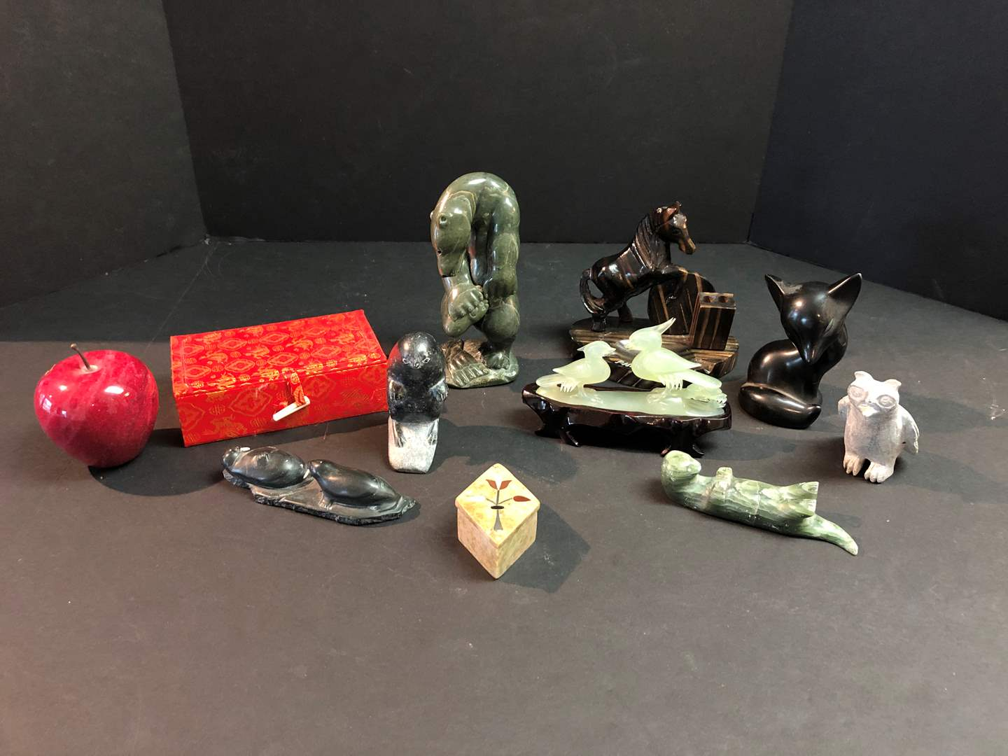 Lot # 186 - Selection of Figurines: Some Jade, Marble Apple & More..  (main image)