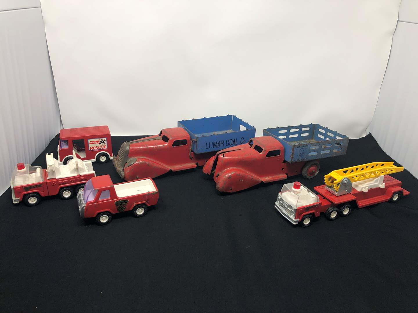 Lot # 193 - Vintage Toy Trucks: Lumar Coal Co., Buddy L Fire & Rescue  (main image)