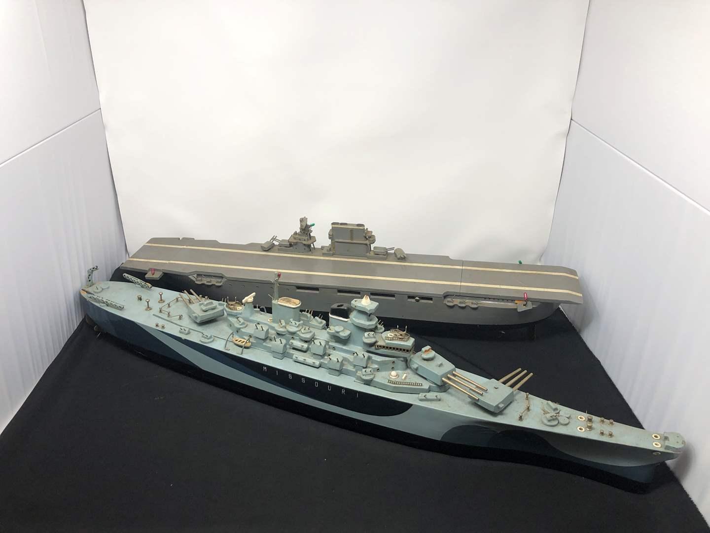 "Lot # 207 - 2 Wood Motorized Boats ""USS Missouri"" & Aircraft Carrier  (main image)"