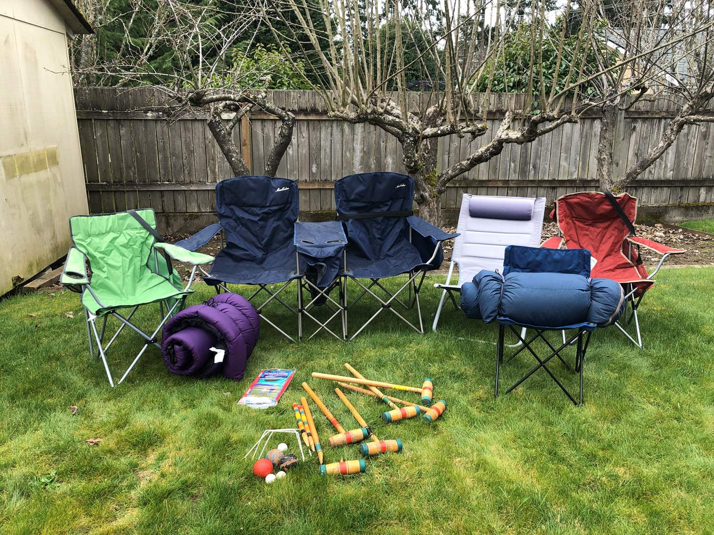 Lot # 246 - Lawn Chairs, Nice 2 Person Chair & 2 Sleeping Bags (main image)