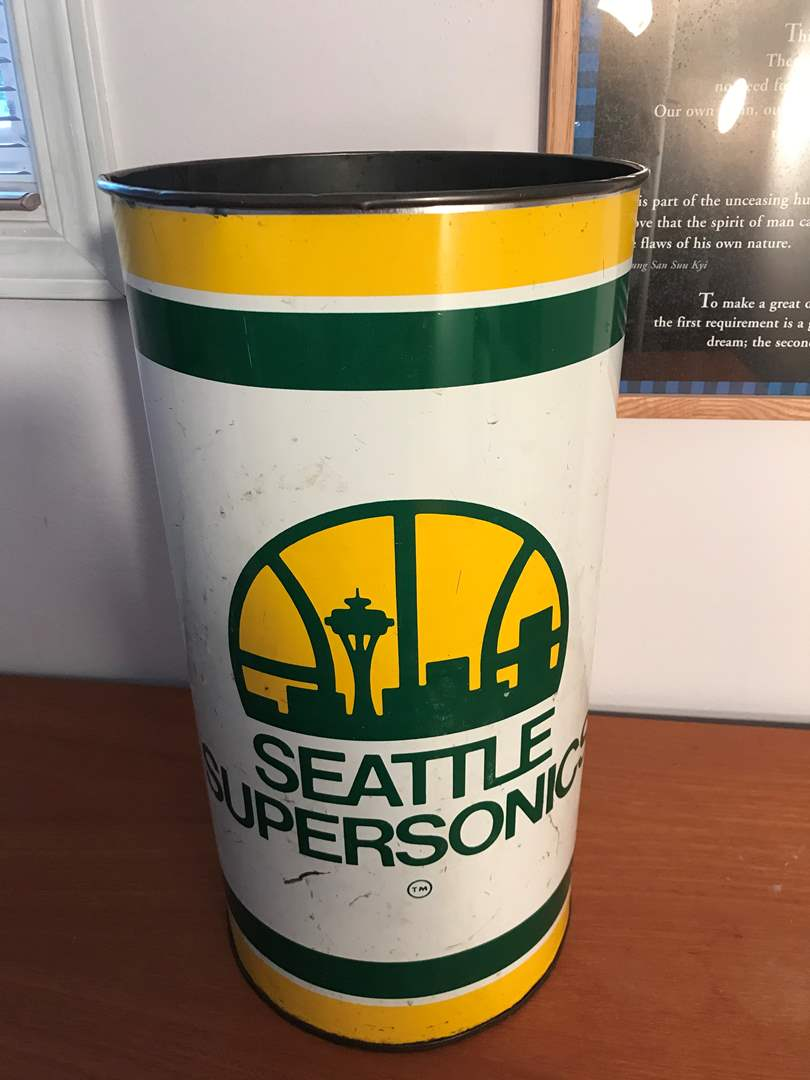"Lot # 80 - Vintage Tin Seattle Sonic Trash Can - 20"" Tall  (main image)"