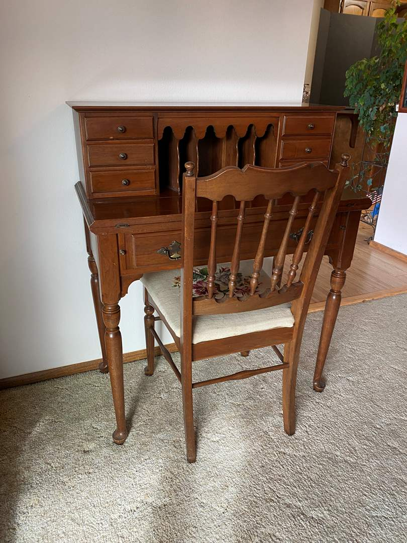 "Lot # 5 - Vintage Ethan Allen ""Sheffield"" Secretary Desk w/Chair  (main image)"