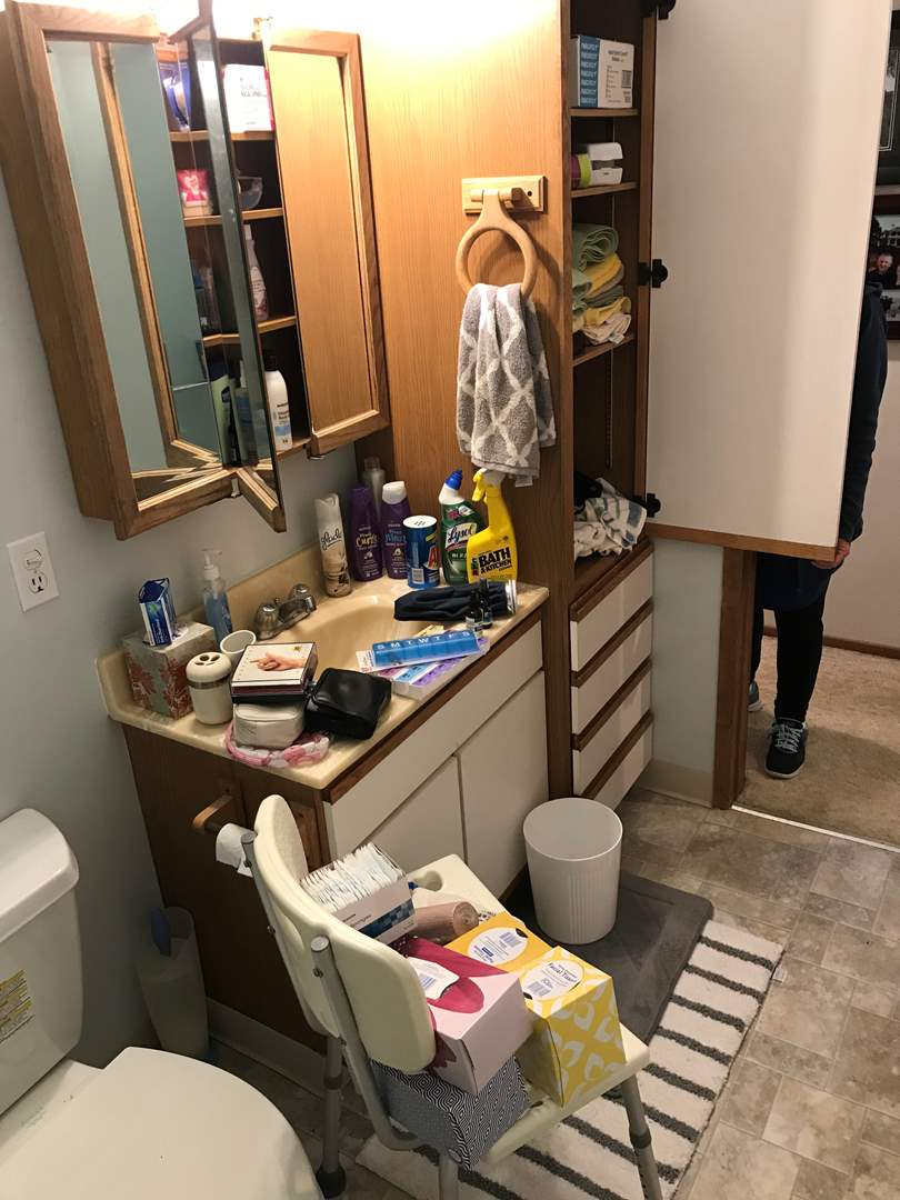 Lot # 109 - Bathroom Items: Cleaning Supplies, Lotions, Hand Sanitizer, Shower Chair, Towels & More.. (main image)