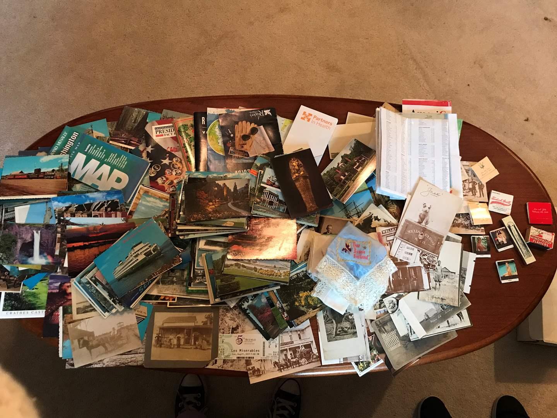 Lot # 93 - Vintage Postcards, Road Maps, Hankies, Match Books & More.. (main image)