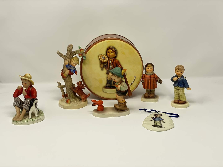 Lot # 46 - Five Vintage Hummels, Hummel Tin, & Hummel Ornament - See Description for Titles & Details  (main image)