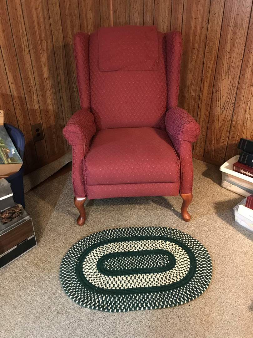 Lot # 171 - Wingback La-Z-Boy Reclining Chair & Small Braided Rug (main image)