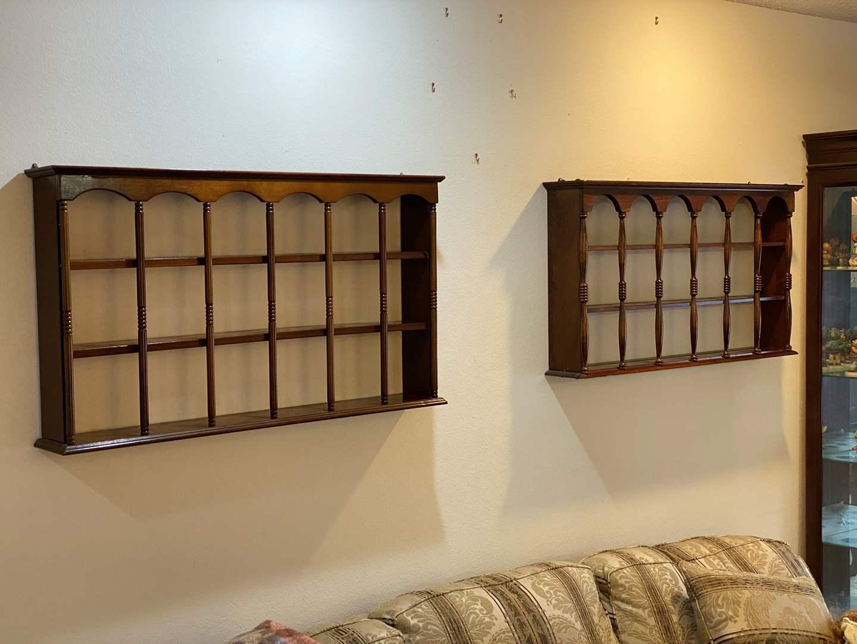 Lot # 176 - Two Hanging Wood KnickKnack Shelves  (main image)