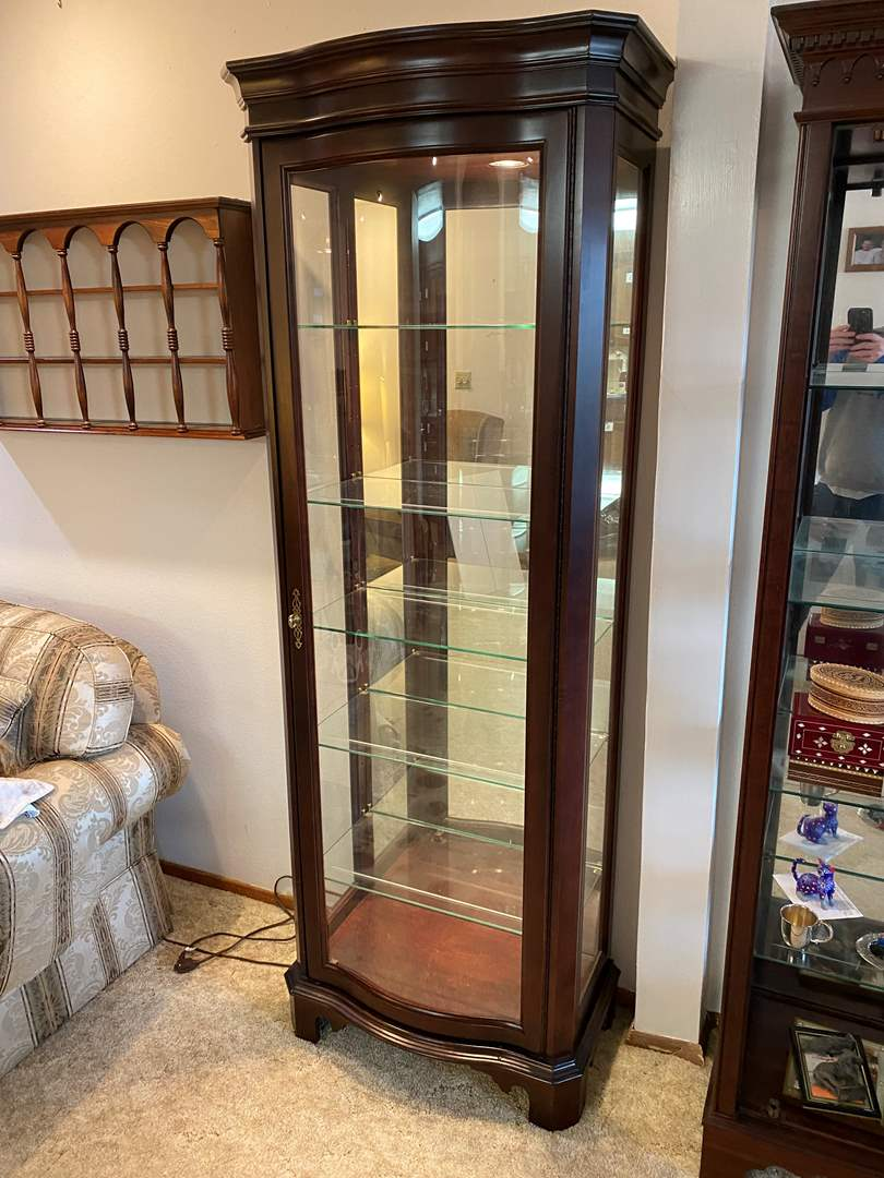 """Lot # 177 - Beautiful """"Jasper Cabinet"""" Lighted Curio Cabinet w/Curved Glass Front  (main image)"""